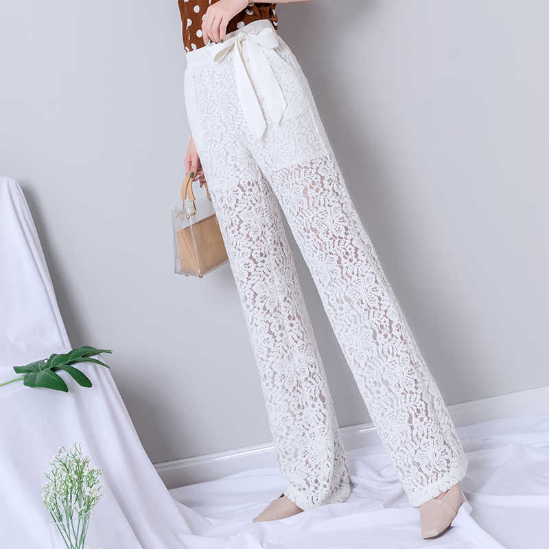 White Lace Wide Leg Pants Women Summer Harajuku Gothic Elegant Pants with Sashes Korean High Waist Streetwear New Trousers Women