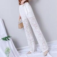 White Lace Wide Leg Pants Women Summer Harajuku Gothic Elegant Pants with Sashes Korean High Waist Streetwear New Trousers Women