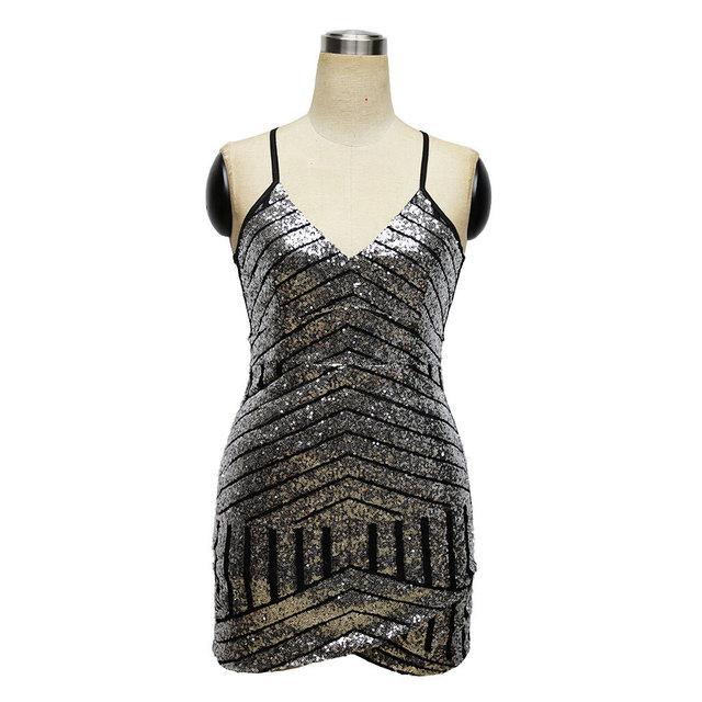 Naive Shine Womens Elegant Night Club Summer Dress Sliver Sequin Sleeveless Bodycon Short Mini Sexy Beach Casual Party Dresses