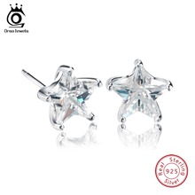 ORSA JEWELS 925 Sterling Silver Stud Earrings For Women With AAA Clear Cubic Zircon Star Earing Trendy Silver Jewelry Gift OSE02 стоимость