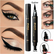 New Sexy Waterproof Double Head Black wing shape Eyeliner Seal Eyeliner Stamp Pencil Cat Eye Cosmetic Makeup Tool Maquiagem(China)