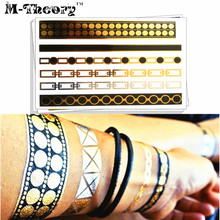 M-Theory Metallic Gold Choker Bracelet Makeup Temporary 3d Tatoos Body Art Flash Tattoos Stickers Swimsuit Bikini Makeup Tools