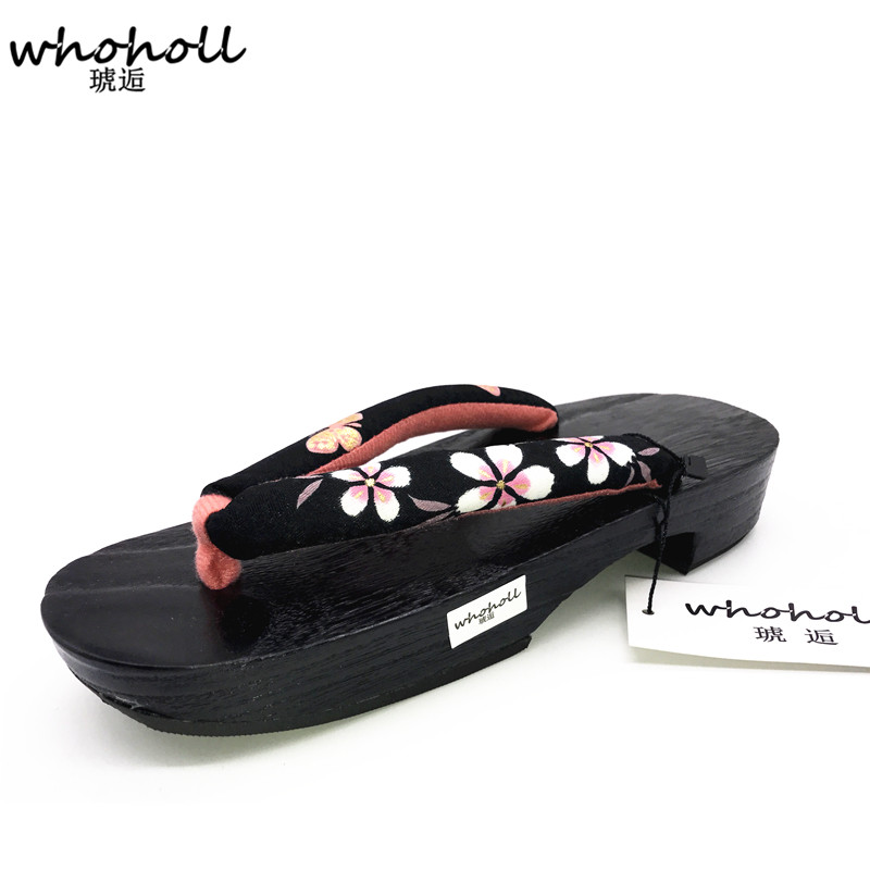 WHOHOLL Traditional Japanese Geta Clogs Summer Sandals Women Flip Flops for Female Paulownia Wooden Shoes Cosplay Costumes Shoes