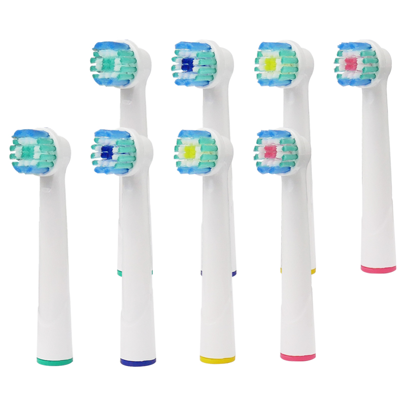 8pcs Oral B Electric Toothbrush Replacement Heads Model Battery Soft Tooth Bristles for Dual Clean Complete Brush Head image
