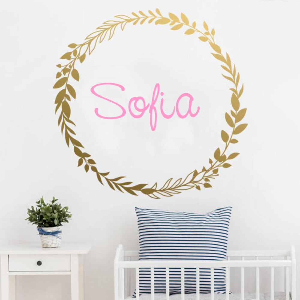 Personalized Girls Name Wall Sticker Golden Garland Wall Decal Vinyl Art Wallpaper for Baby Kids Room Decoration