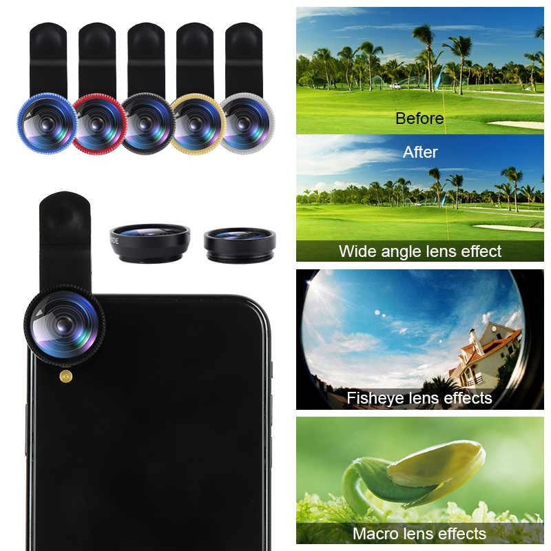 3 trong 1 Fisheye Ống Kính Ống Kính Điện Thoại Di Động Clip Ống Kính Với Ống Kính Sợi Góc Túi Ống Kính Máy Ảnh Macro Cho iPhone xiaomi Huawei Lenovo