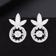 SISCATHY Charms Pineapple Stud Earrings for Women Cubic Zirconia Crystal CZ Fashion Jewelry Luxury Wedding