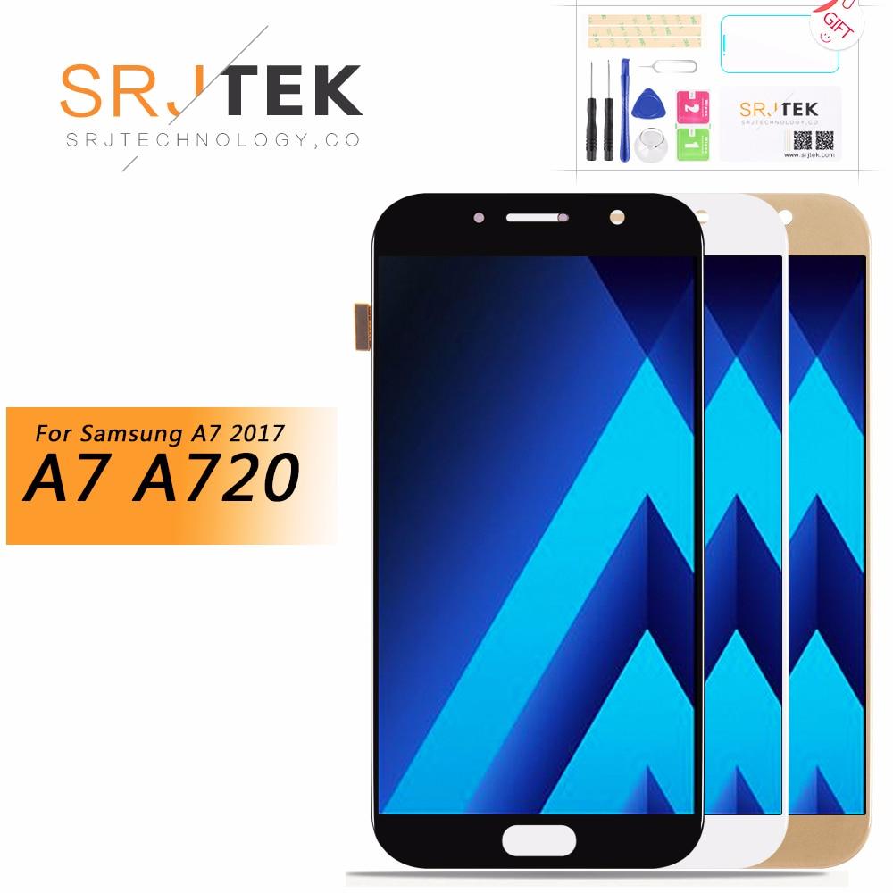 1920x1080 Oled 5.7 Pouces LCD pour samsung Galaxy A7 2017 A720 LCD A720F écran LCD avec écran tactile pièces de rechange de numériseur