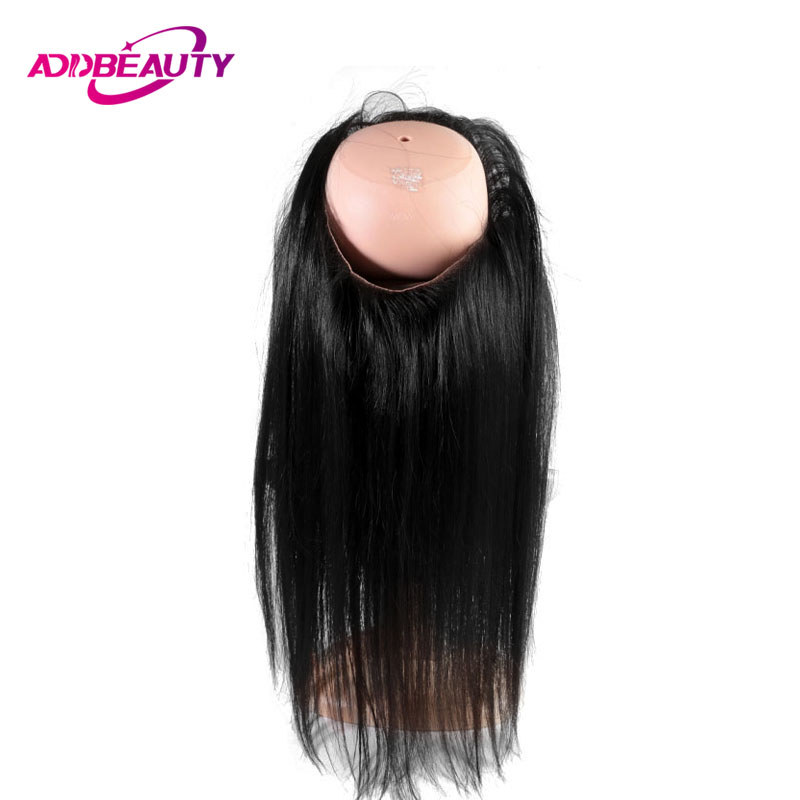 360 Swiss Lace Frontal Closure With Elastic Bangs Straight Brazilian Virgin Human Hair Pre Plucked Natural Color AddBeauty