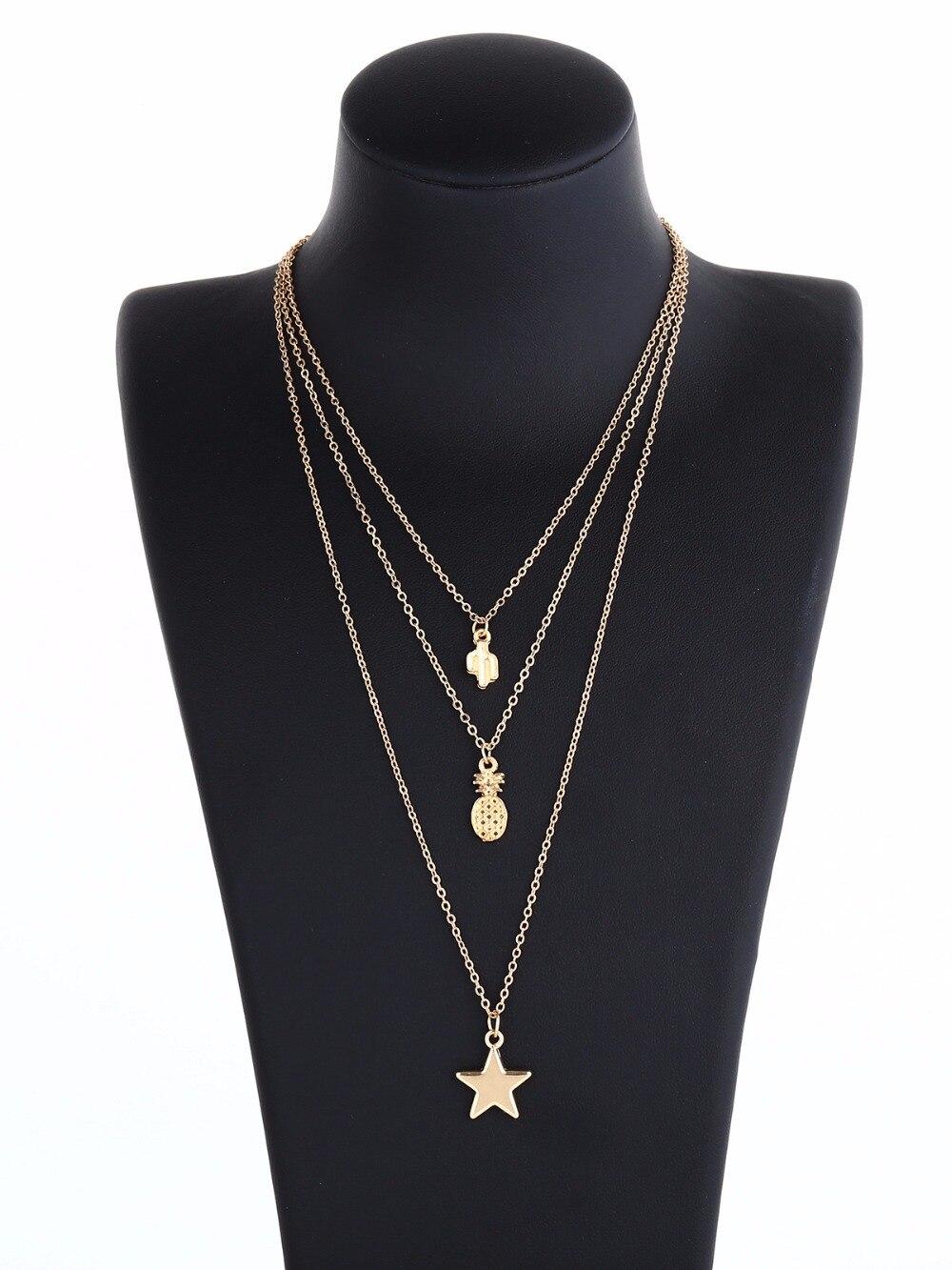star cactus pineapple pendant neklace women choker necklace fashion jewelry collier femme chain necklaces & pendants