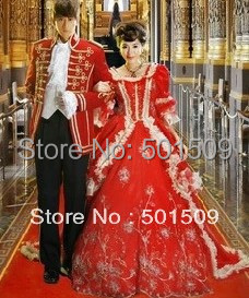 mens womens royal red medieval dress Renaissance costume Victorian Gothic Lol Marie Antoinette civil war Colonial