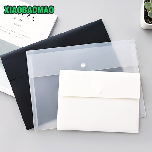 Thicken Simple Black / White / Transparent A4 File Folder Briefcase Document Bag Portfolio Office Stationery