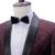 Custom Made Mens Borgonha Casamento Ternos Com Calças Impressas Xale Colarinho Slim Fit Partido Noivo Homens Terno DT400