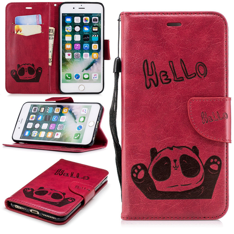new cute cartoon panda design Leather case with card slot flip cover for iphone7plus/8plus