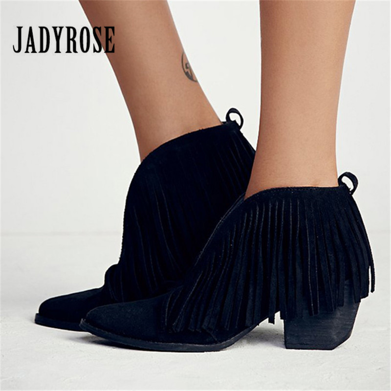 Jady Rose Black Front V Open Women Ankle Boots Fringed Chunky High Heel Shoes Woman Tassels Women Pumps Slip On Martin Boot m mixed color women ankle boots square high heel shoes woman fringed booties chaussure femme women pumps martin botas