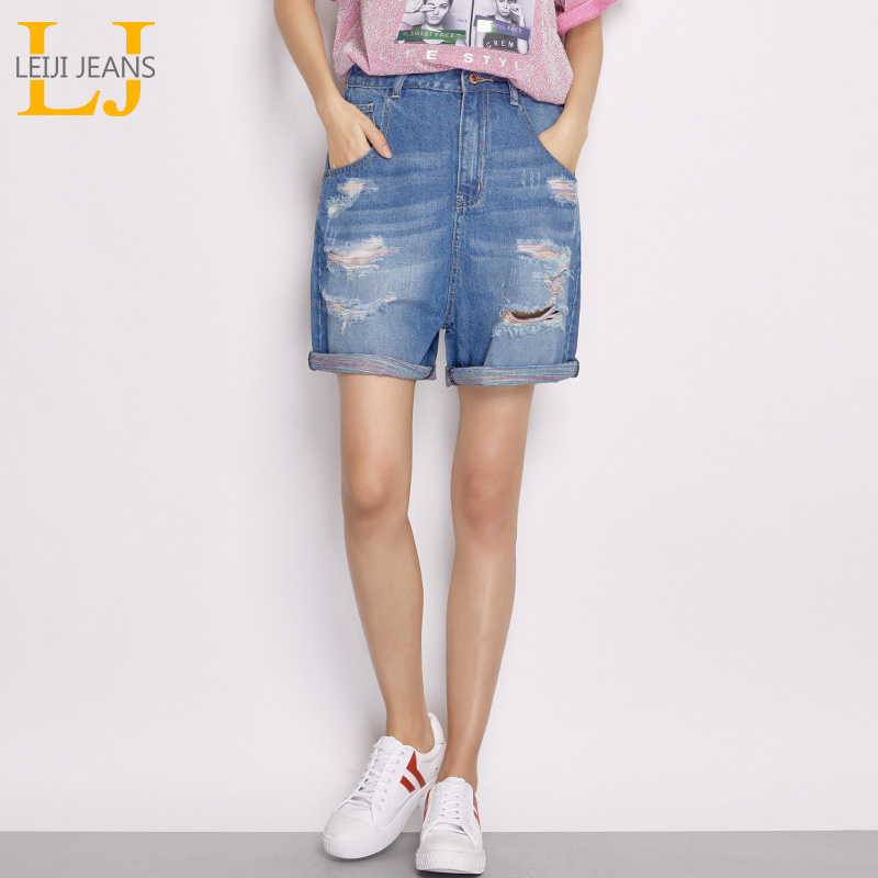 LEIJIJEANS 2018 New Arrival Summer Plus Size Ripped Hole Color Thread Cuff Mid Waist Above Knee Length Loose Denim Women   Shorts