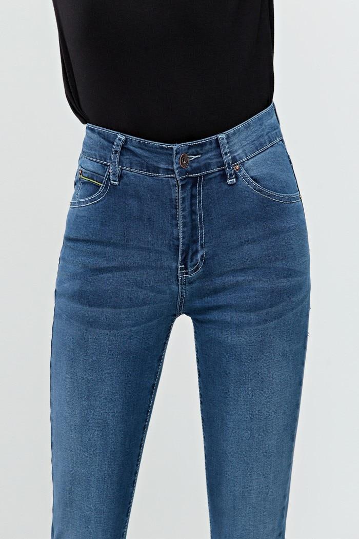Высокое качество, женские летние капри-карандаш, девятые джинсы с высокой талией, джинсовые штаны с подвернутым подолом размера плюс, длина по щиколотку