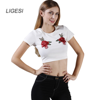 LIGESI Vintage Knitted Bustier Crop Top 2017 Summer Beach Short Women Tops Streetwear Embroidery Camisole Tank