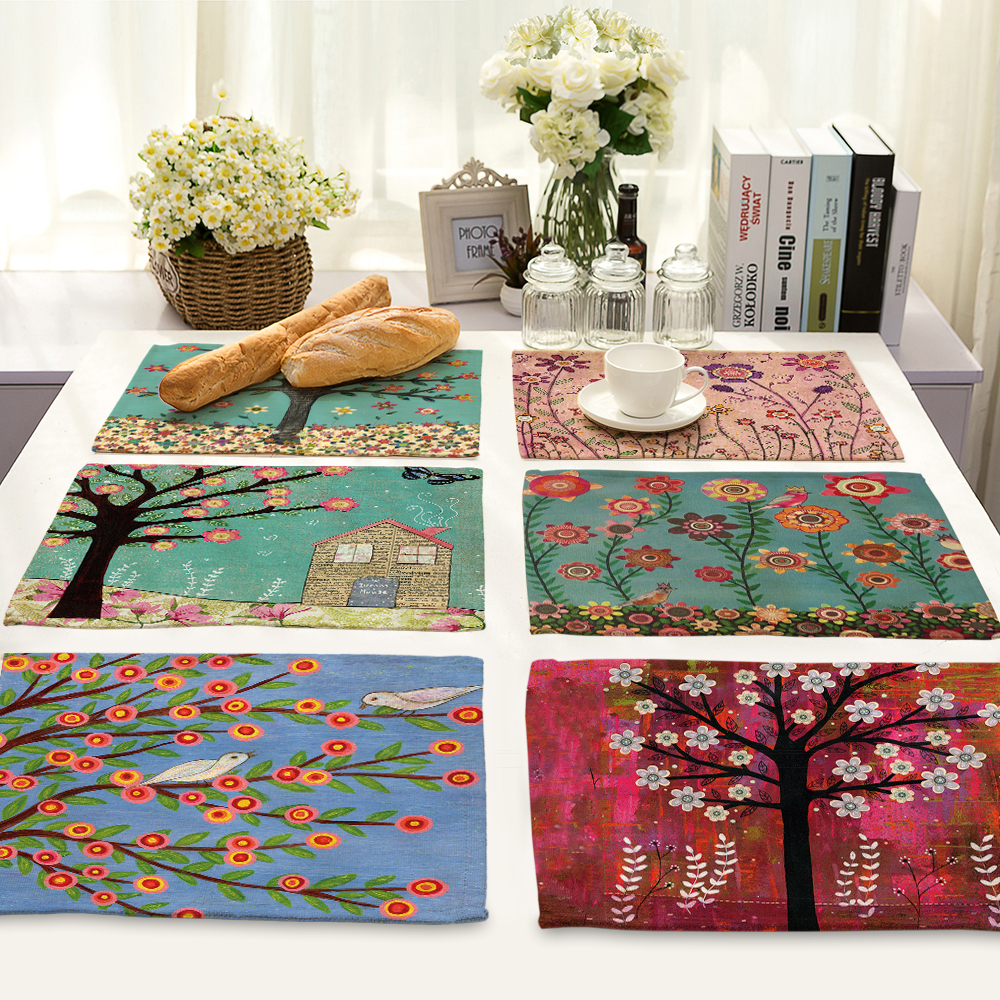 42x32cm Enchanting Tree Printed Table Napkins for Wedding Party India Hippie Table Napkin Cloth Western Dinner Mat Home Textile