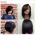 Слоистых человеческие волосы короткие боб парики для чернокожих женщин Glueless фронта человеческих волос боб парик с боковой челкой короткие парики