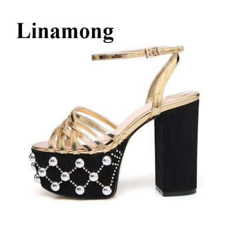 2018 Summer Chunky Heel Platform Rivet Decoration Round Toe High Heel Open Toe Buckle Fashion Gold And Silver Women Sandals