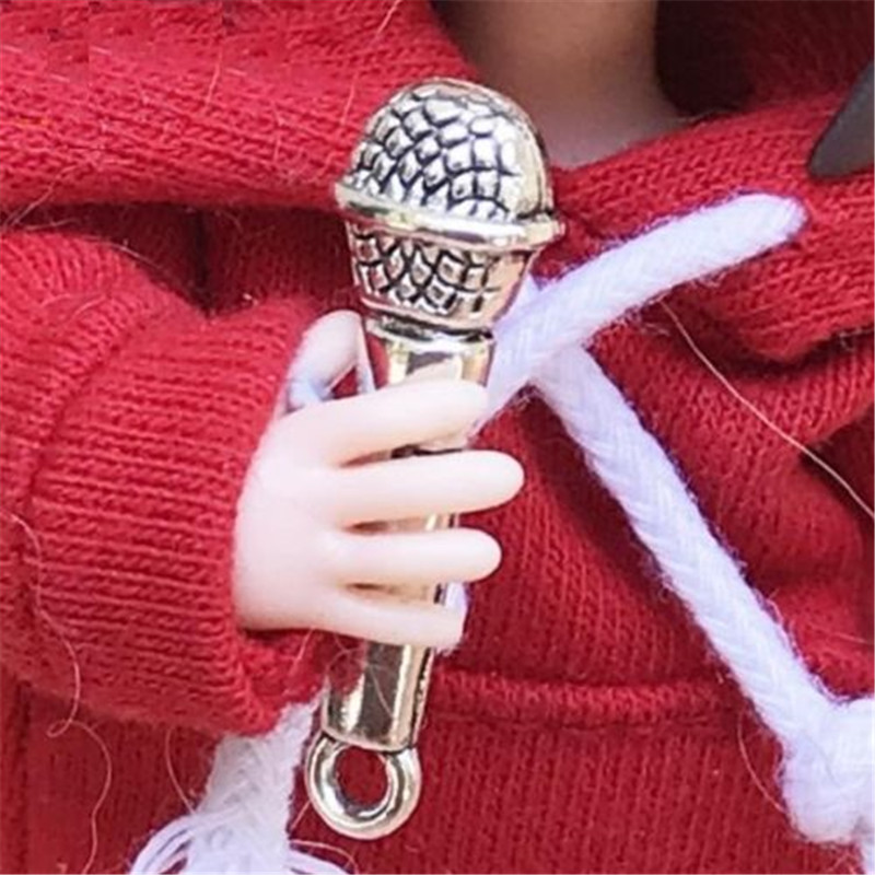 1:12 Dollhouse Miniature Silver Microphone For Doll House DIY Landscape Scene \