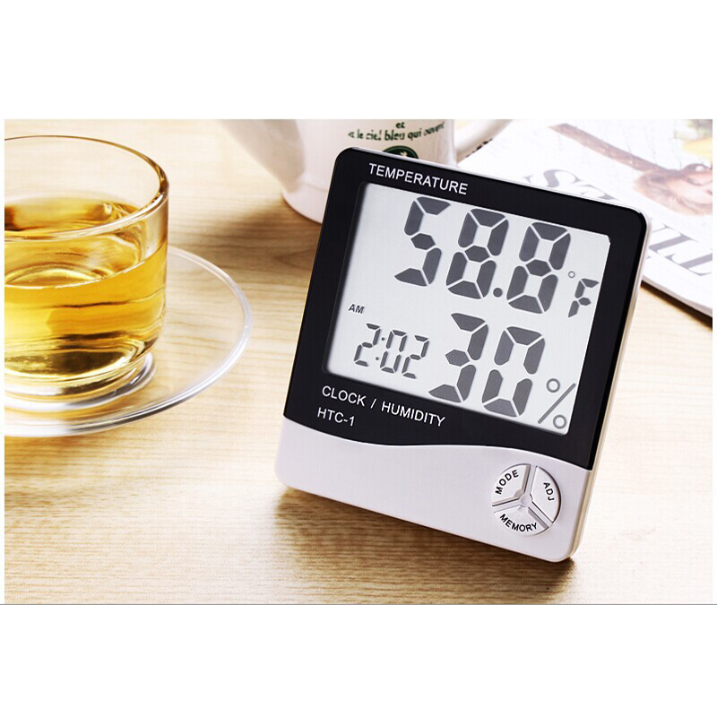 LCD Digital Thermometer Indoor Room Outdoor Electronic Temperature Humidity Meter Hygrometer With Weather Station Alarm Clock