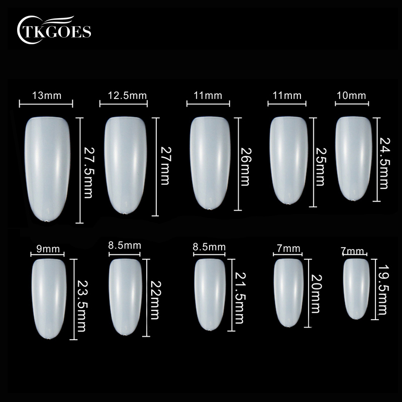 500pcs/pack 10 Size White Oval Nail Tips Full Cover False Nails ...
