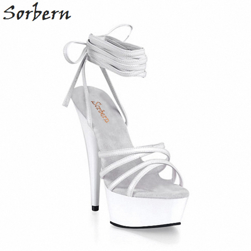 Sorbern White Shiny Ankle Straps Wrap Summer Sandals Women 15Cm High Heels Cross Straps Platform Ladies High Heel Shoes Size 45