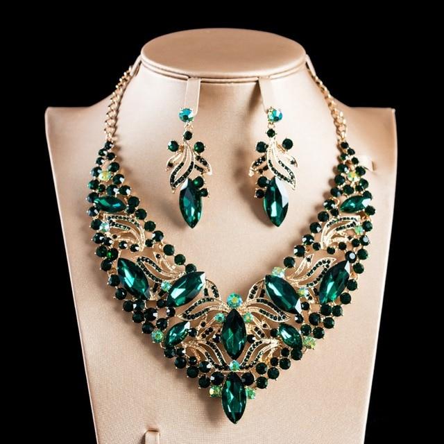 LAN дворец красочные Африка ювелирные изделия из Нигерии комплект цвет золотистый ожерелье из стекла и серьги для свадьбы Бесплатная достав...