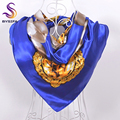 Blue Pearl Large Square Silk Scarf Printed 90*90cm New Accessories Pearl Bracelet Pattern Scarves Wraps Blue And Beige White
