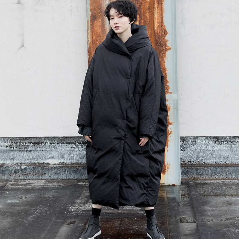 IRINAY217 2018 Nuove donne di Raccolta di abbigliamento casuale di spessore lungo oversize giacca con cappuccio del cappotto di inverno anatra bianca verso il basso