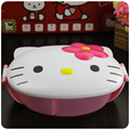 New Hello Kitty Cat Head Monolayer Bento Box Microwaveable Students Plastic Lunch Box school Children Cartoon Kids Lunch Box