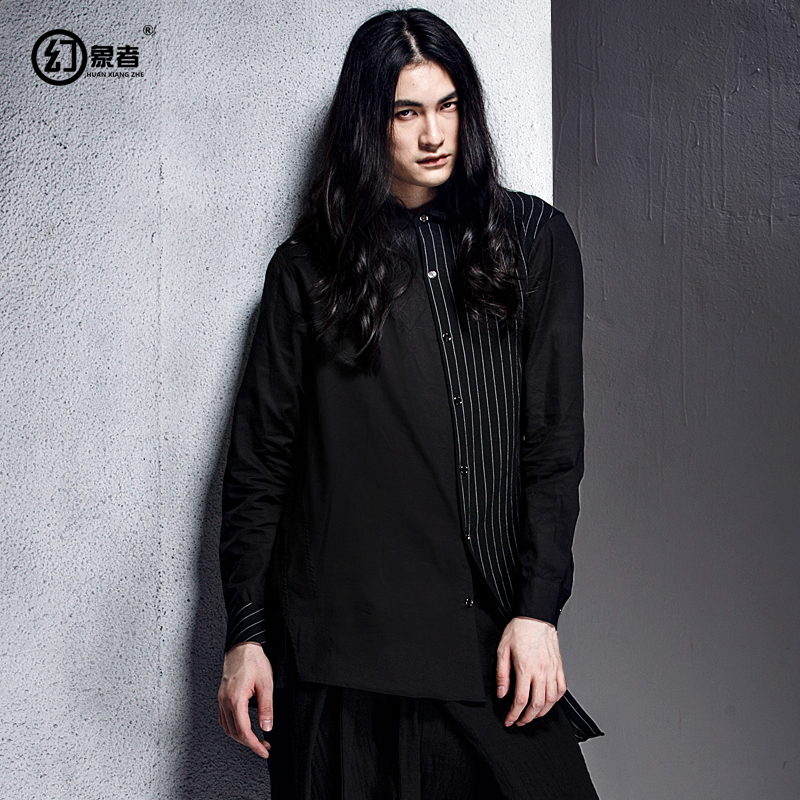 The original design stylist Dark series irregular hem shirt striped shirt placket oblique hit color male spring