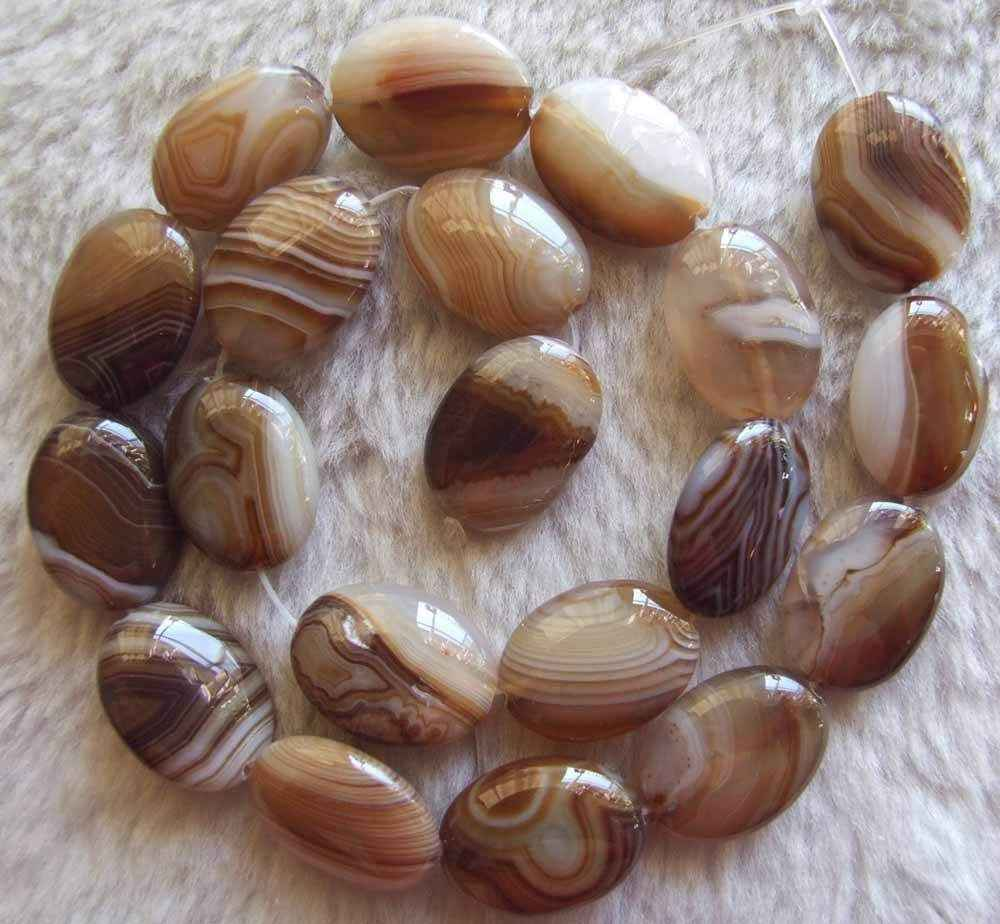 Jewelry 00736 5strand 15x20mm 22x30mm Brown Brand Agate Oval Loose Beads Jewelry Stone Strand 15.5""