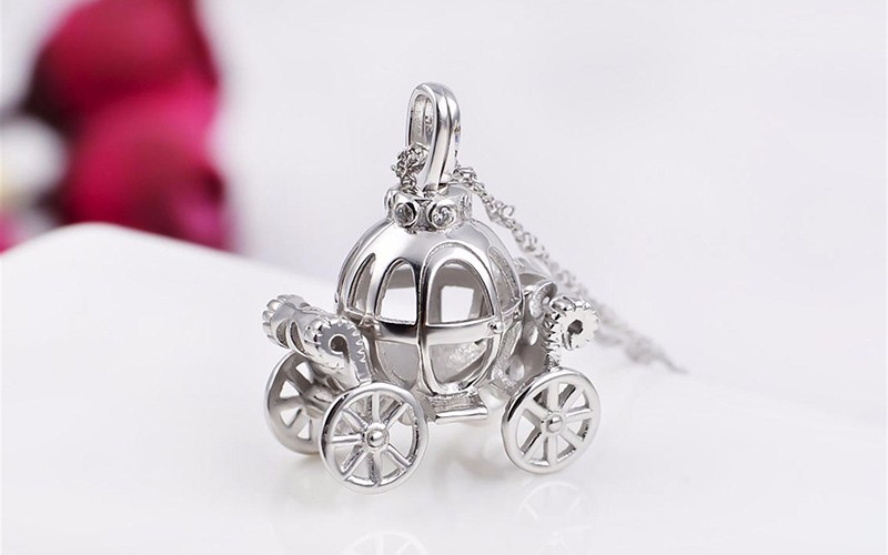Solid 925 Sterling Silver Charm Hollow pumpkin car design Necklace for kids Fairy Tale Cinderella Carriage pendant Best gift (3)