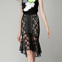 SIPAIYA 2017 Office Ladies Sexy Transparent Slim Mermaid Skirt Black Lace Patchwork Hollow Out Splice Sexy Skirt Floral Crochet
