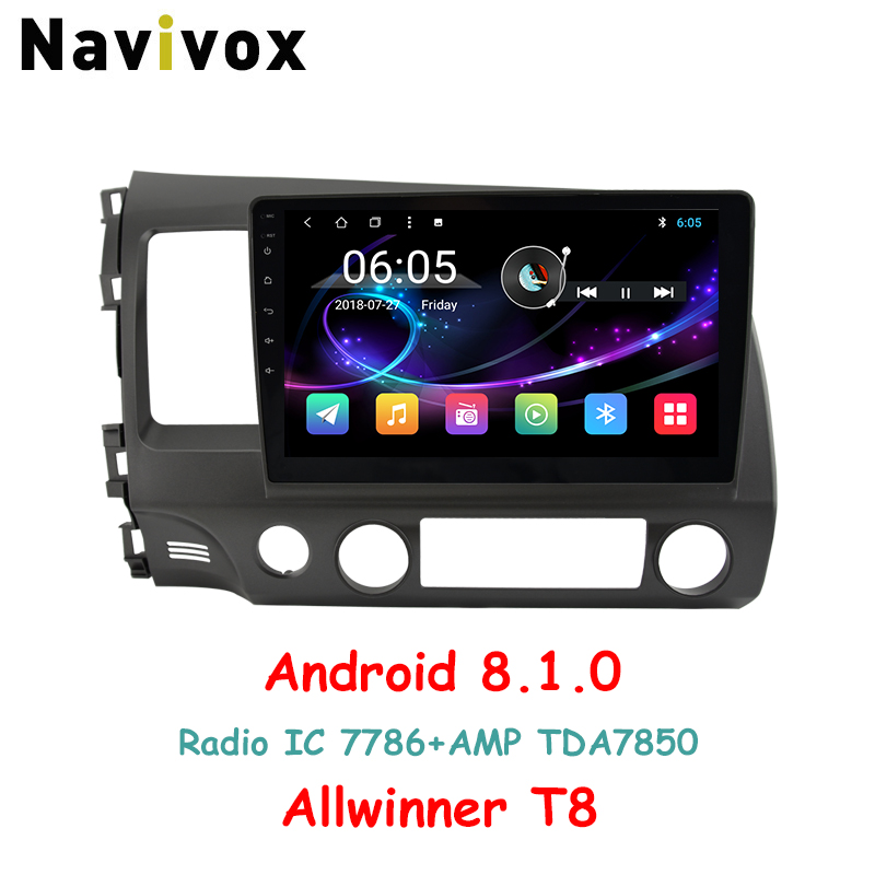 Navivox 10.1 ''сенсорный Android8.1.0 автомобиль GPS навигации плеер для Honda Civic 2006-2011 RDS/WiFi /BT/SWC/3 г/4 г HD1080P