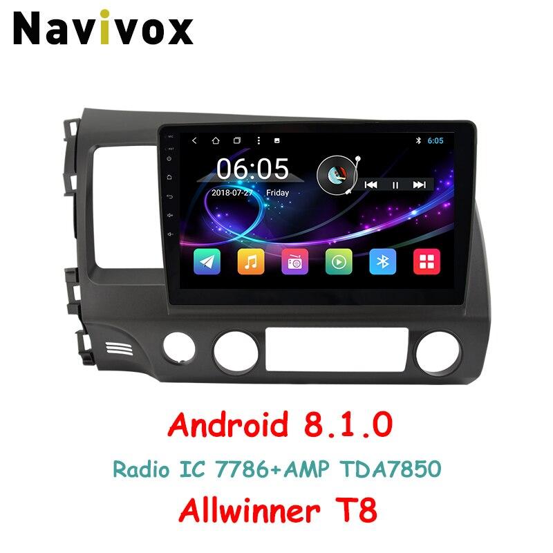 Navivox 10.1 ''Full Touch Android 8.1 Lettore di Navigazione GPS Per Auto Per Honda Civic 2006-2011 RDS/WIfi /BT/SWC/3g/4g HD1080P (no dvd)