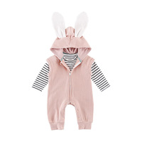 Spring Autumn Baby Clothes Boys Girls Clothing Sets Cute Animal Rabbit Romper Striped T Shirt 2pcs