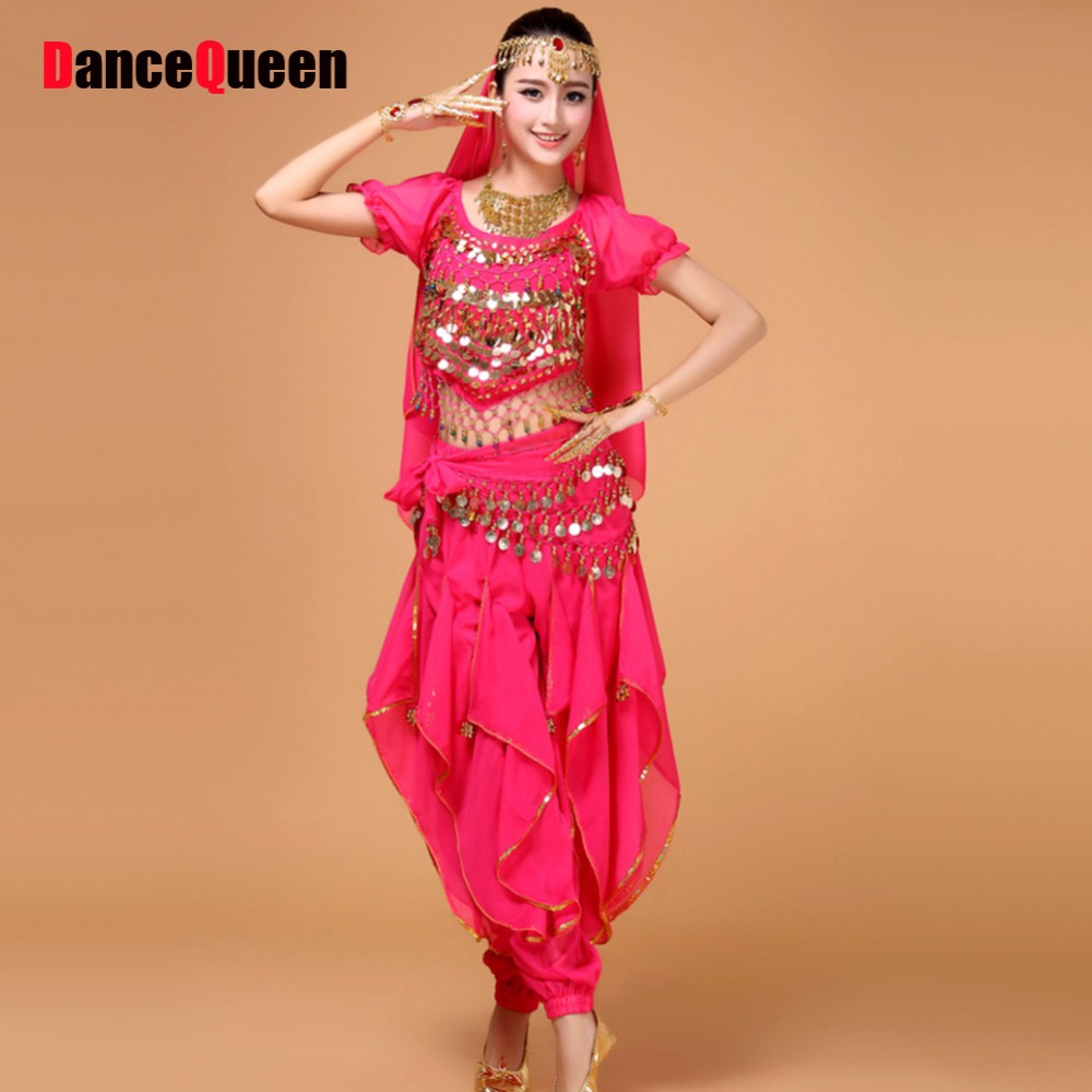 2018 Belly Dancing Costumes 5Pcs Top  Pants  Waist Chain  Tire  Veil Suit Indian Dance