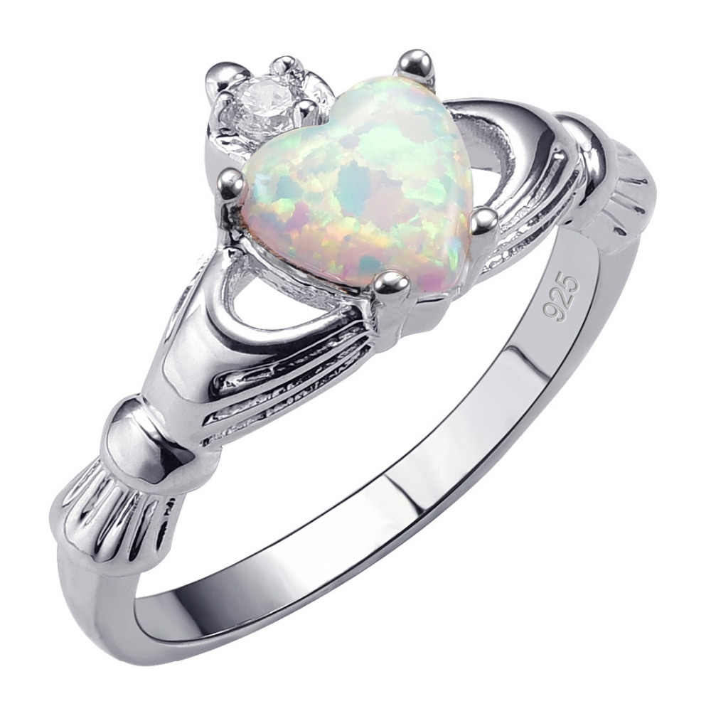 1//2 Modern Opal Ring White Created Opal 925 Sterling Silver Band sz 4 5 6 7 8 9