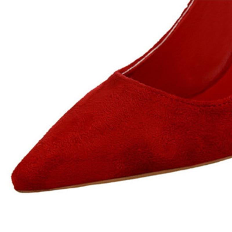 Chaussures Mode rouge Concise Troupeau Rouge orange pourpre jaune Pointu Bout gris Coréenne Haute Pour De Peu Bureau Talons Profonde Nouvelle Femmes 9 rose Couleurs Noir Arrivée vin Solide vert 4PxzYY