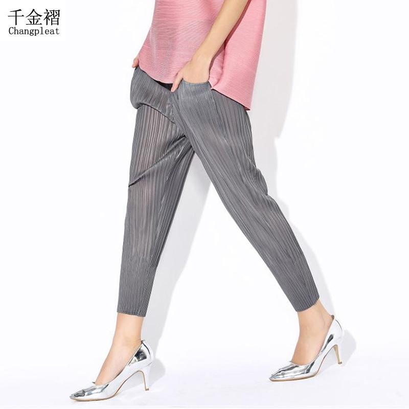 Pantallona femrash Changpleat Miyak PleatedHa me bel të madhësisë së madhe Pantallona të lapsa elastike bel të lirshme pantallona të buta dhe të rehatshme