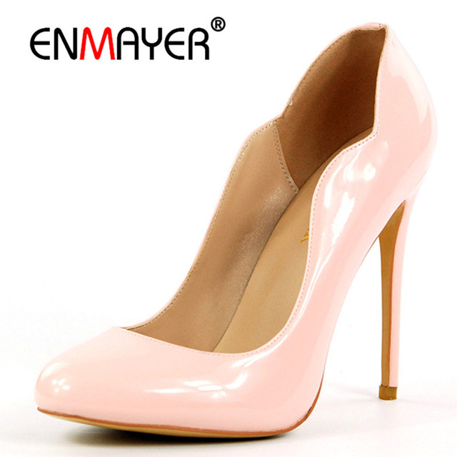 ENMAYER Woman Shoes 2018 Summer Chaussures Femmes Pumps Shoes Woman High Heels Sexy Red Wedding Shoes Plus Size 35-46