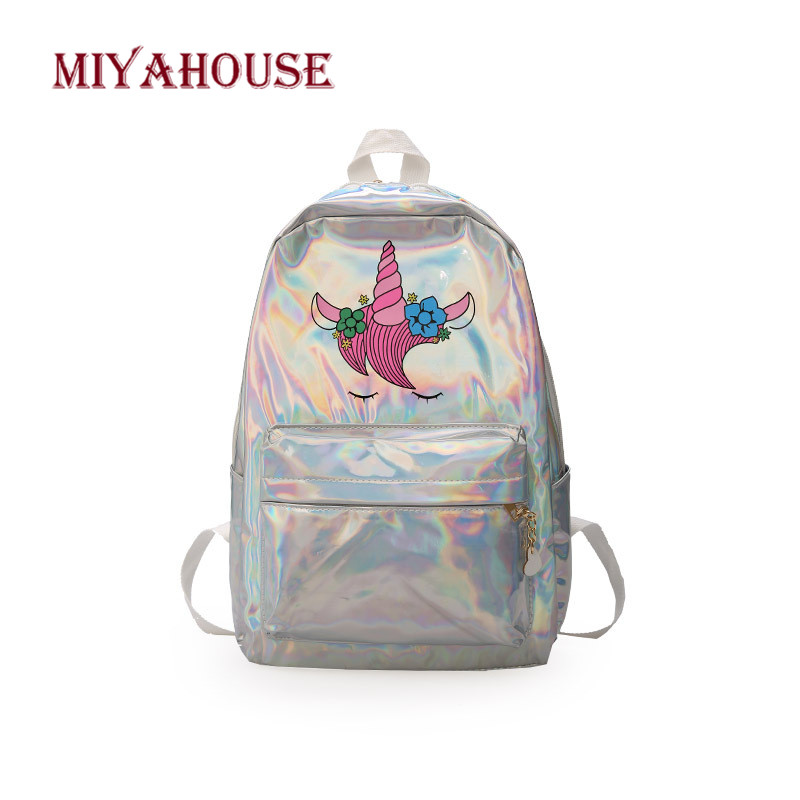 Miyahouse New Fashion Unicorn Design Leather Backpack For Feamle Reflective Laser Women Rucksack Large Capacity Lady School Bag-in Backpacks from Luggage & Bags
