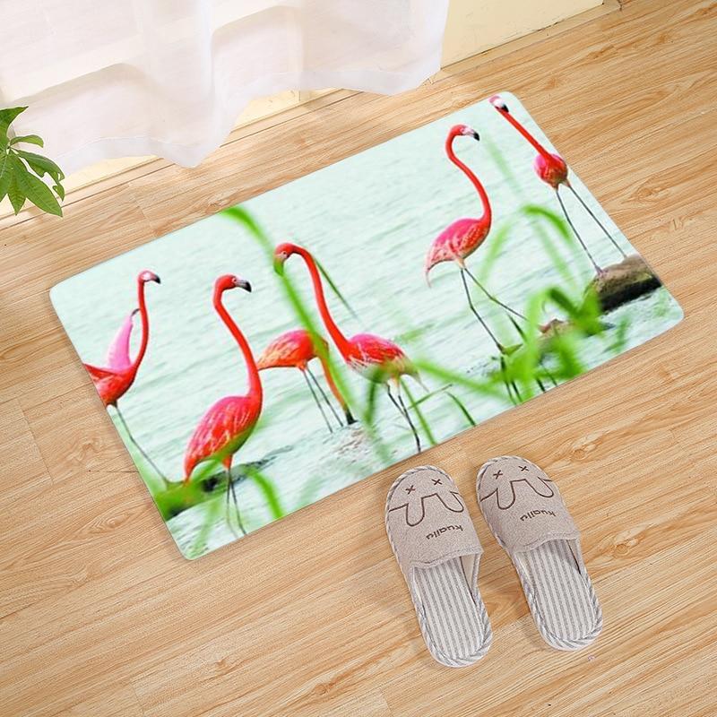 Pink Flamigo Printed Entrance Anti-Slip Doormat Carpet Bedroom Rug Kitchen Bathroom Decorative Stair Mat Home felpudo deurmat