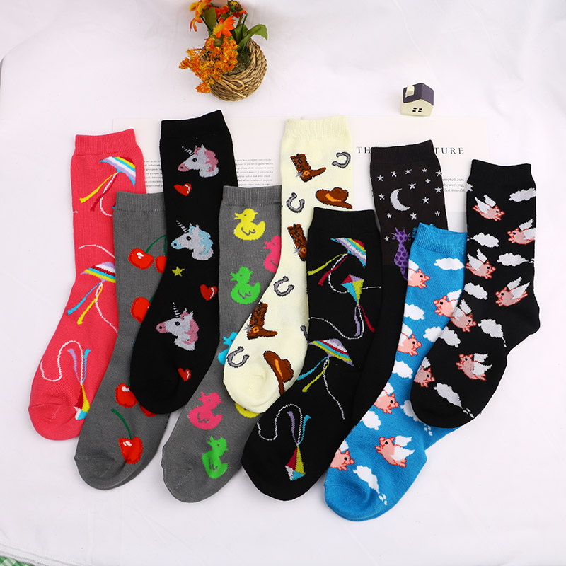 Fashion Happy Socks Submarine World Cotton Soft Sox Beautiful Curve Men Funny Women Ladies Girls Art Socks