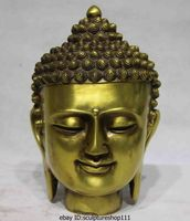 Rare Chinese Buddhism Temple Brass Copper Tathagata Amitabha Rulai Buddha Head Statue Garden Decoration 100% real Brass Bronze