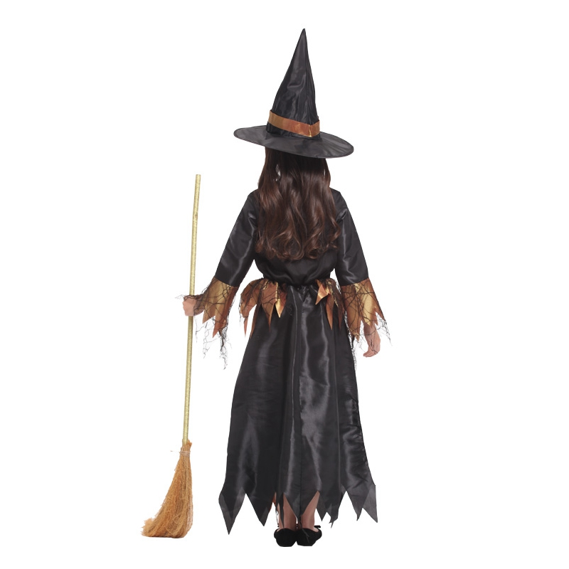Black Gold Cobweb Witch Halloween Costume  4